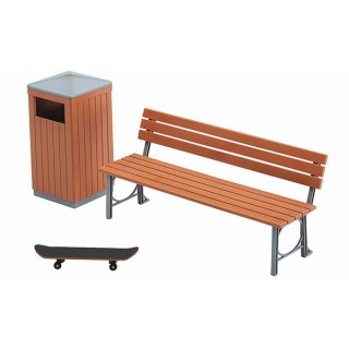 Park Bench and Trash Can Plastic Model 1/12 Hasegawa