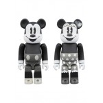 BEARBRICK MICKEY MOUSE And MINNIE MOUSE 100% B And W Ver. Medicom Toy